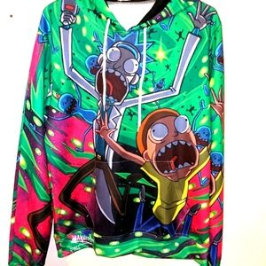 🎉HP🎉 NWOT Rick & Morty Pull-Over Graphic Hoodie